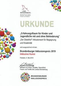 Auszeichnung mit dem Brandenburger Inklusionspreis 2019